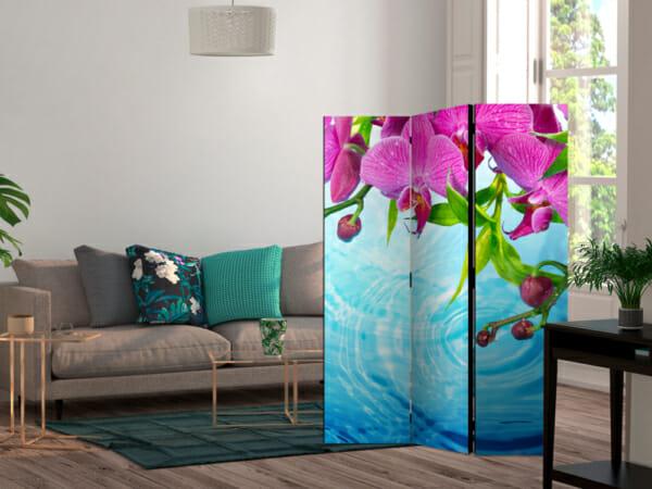 Сгъваем декоративен параван с розови орхидеи над вода - 3-крилен