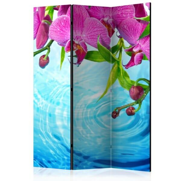 Сгъваем декоративен параван с розови орхидеи над вода - 3 крила
