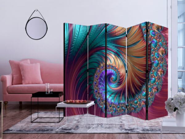 Абстрактен декоративен параван като опашка на паун -5-крилен