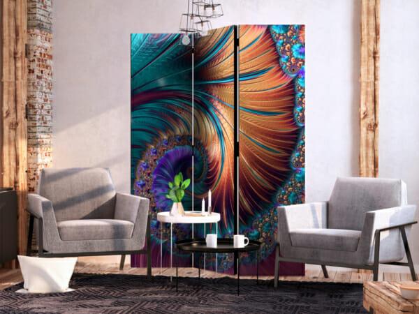 Абстрактен декоративен параван като опашка на паун - 3-крилен