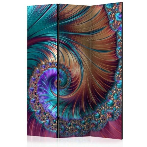 Абстрактен декоративен параван като опашка на паун - 3 крила