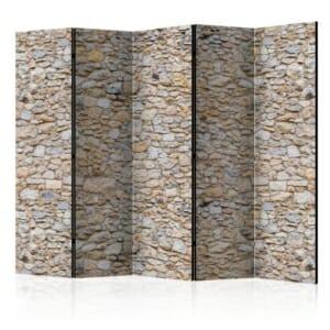 Двулицев декоративен параван като стена от релефни камъни- 5 крила