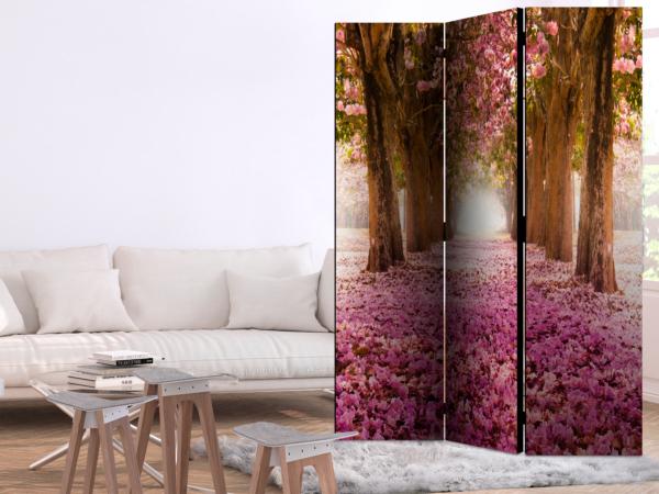 Двустранен параван с път между дървета и розови цветчета - 3-крилен