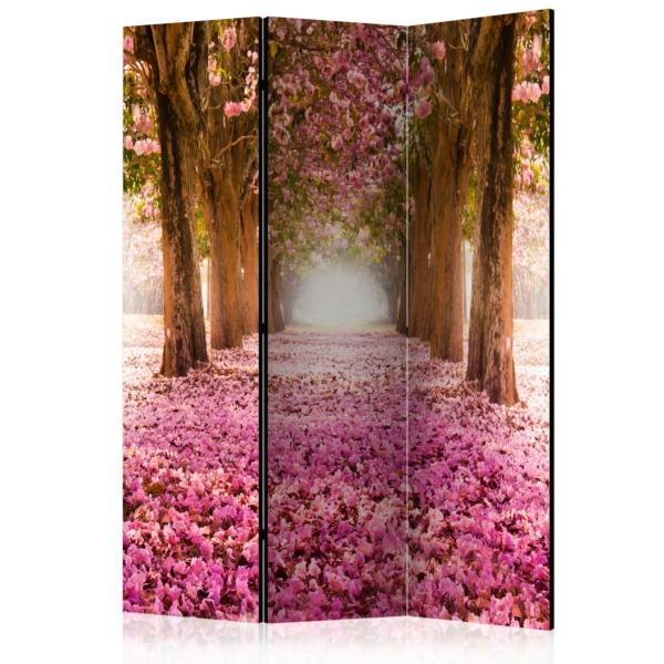 Двустранен параван с път между дървета и розови цветчета - 3 крила