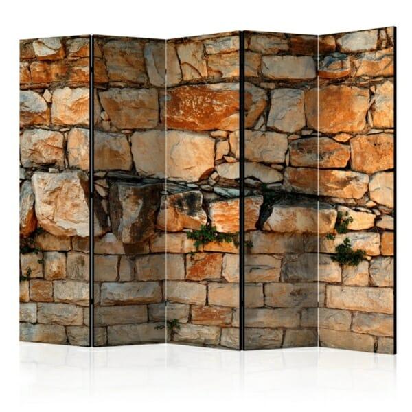 Двулицев параван имитиращ стена от тухли и камъни - 5 крила