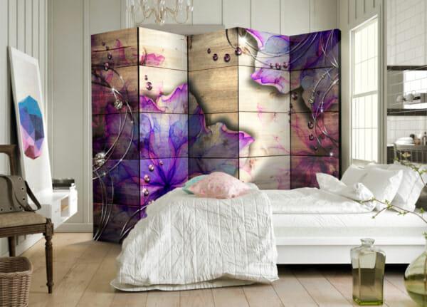 """Двулицев декоративен параван """"Purple Beauty"""" - 5-крилен"""