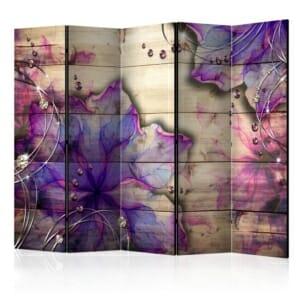 """Двулицев декоративен параван """"Purple Beauty"""" - 5 крила"""