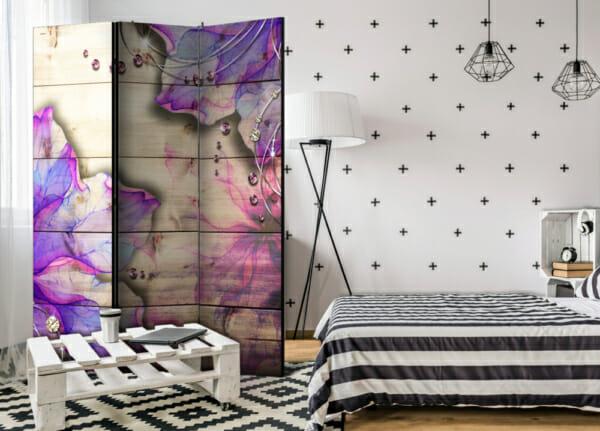 """Двулицев декоративен параван """"Purple Beauty"""" - 3-крилен"""