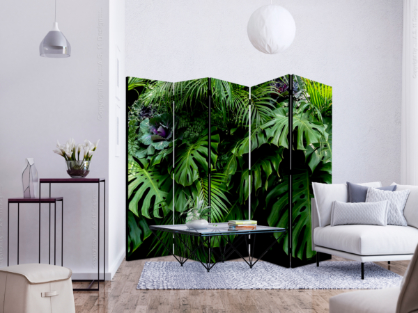 Двулицев разделител за стая с тропически листа - 5-крилен