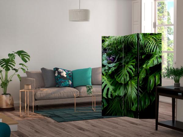 Двулицев разделител за стая с тропически листа - 3-крилен