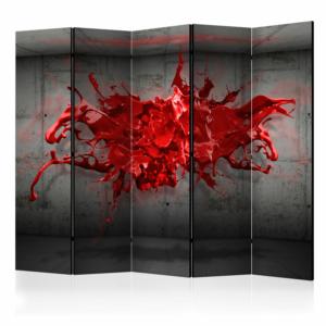 Декоративен параван с абстрактно изображение на червено мастило - 5 крила