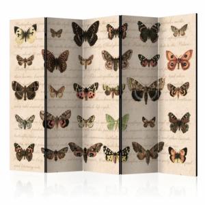 Двустранен декоративен параван с пеперуди в ретро стил -5 крила