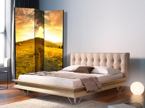 Двулицев декоративен параван с хълм по залез - 3-крилен