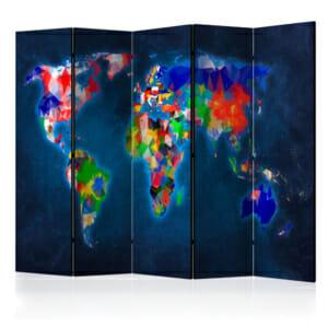 Тъмносин интериорен параван с цветна карта на света