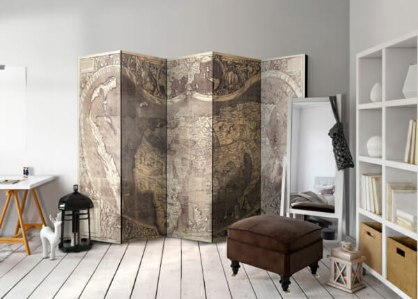 Петкрилен декоративен параван Map Amerigo Vespucci!