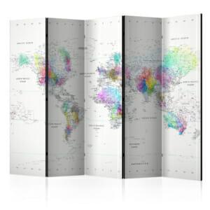 Бял параван за стая с цветна карта на света