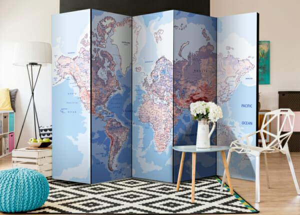 Двустранен интериорен параван с географска карта на света - петкрилен
