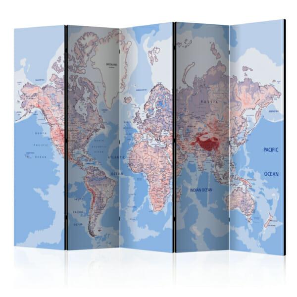 Двустранен интериорен параван с географска карта на света