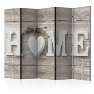 Двустранен параван с надпис HOME и сърце
