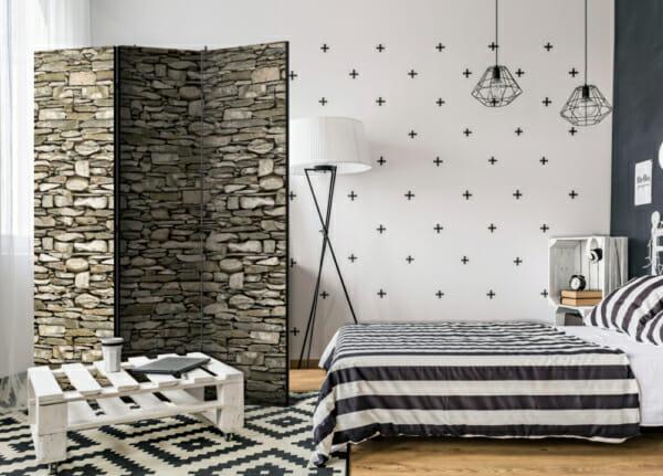 Декоративен двустранен параван със стена от камъни - 3-крилен
