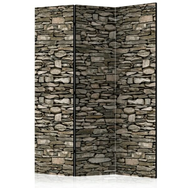 Декоративен двустранен параван със стена от камъни - 3 крила