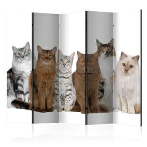 декоративен разделител за стая с котки - 5 крила
