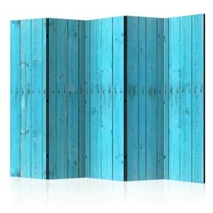 Сгъваем параван за стая имитиращ стена от сини дъски - 5 крила