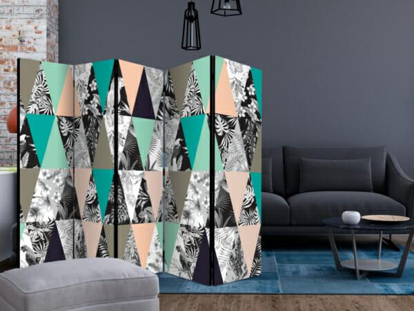Двулицев параван като триъгълна мозайка с тропически акценти - 5-крилен