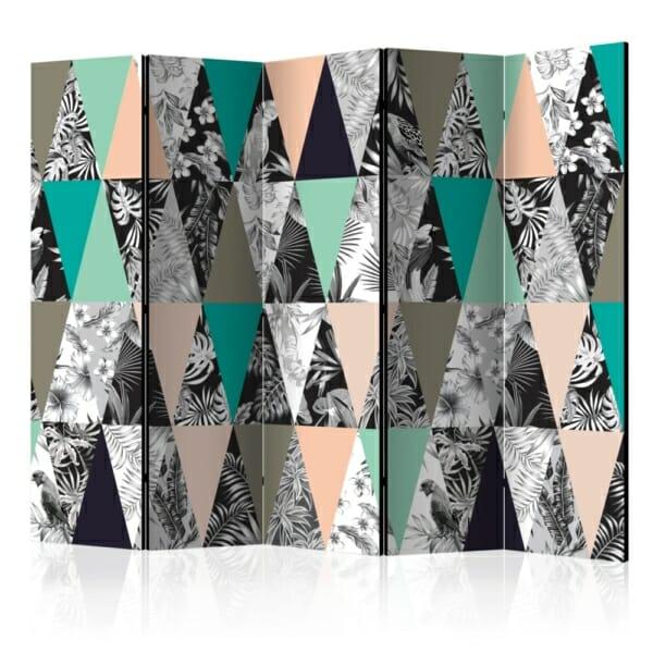 Двулицев параван като триъгълна мозайка с тропически акценти - 5 крила