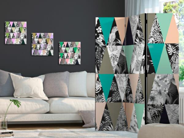 Двулицев параван като триъгълна мозайка с тропически акценти - 3-крилен