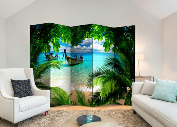 """Двулицев декоративен параван за стая """"Тропически рай"""" - 5-крилен"""