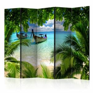 """Двулицев декоративен параван за стая """"Тропически рай"""" - 5 крила"""