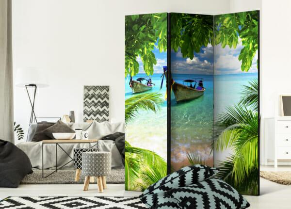 """Двулицев декоративен параван за стая """"Тропически рай"""" - 3-крилен"""
