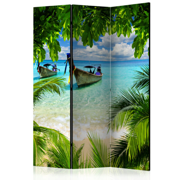 """Двулицев декоративен параван за стая """"Тропически рай"""" - 3 крила"""