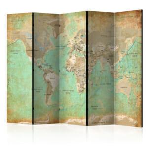 Декоративен параван с карта на света в тюркоазен цвят