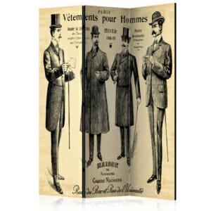 "Винтидж декоративен параван ""Vêtements pour Homme"""