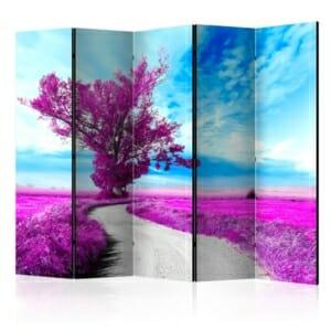 Двулицев параван с път през лилаво поле и лилаво дърво - 5 крила