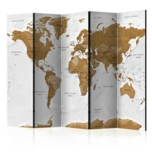 Параван за стая с карта на света White Oceans