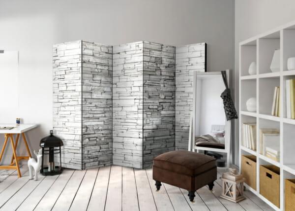 Двулицев интериорен параван с каменна стена в бяло - 5-крилен