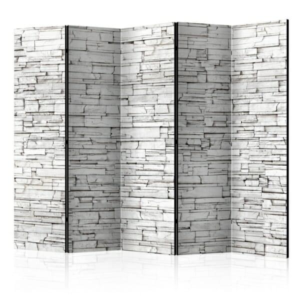 Двулицев интериорен параван с каменна стена в бяло - 5 крила