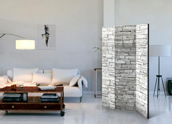 Двулицев интериорен параван с каменна стена в бяло - 3-крилен