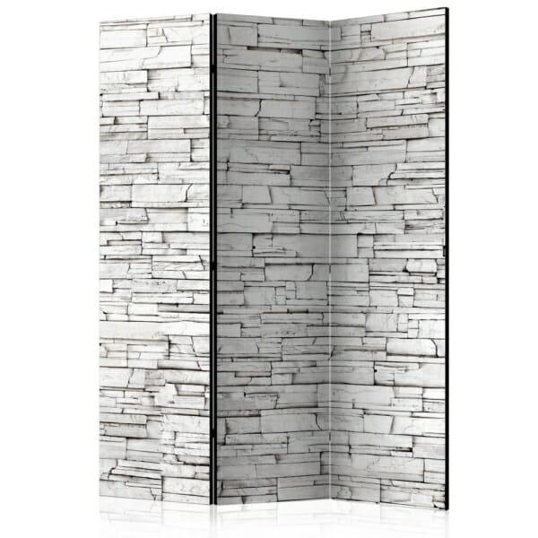 Двулицев интериорен параван с каменна стена в бяло - 3 крила