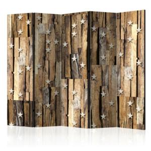 Двустранен разделител за стая с дървени дъски и звезди - 5 крила