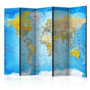Петкрилен параван с карта на света