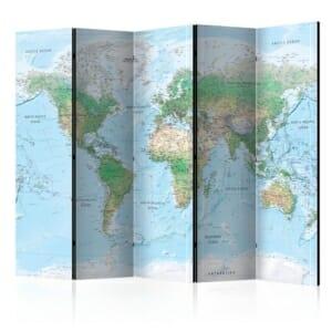 Петкрилен декоративен параван World Map