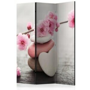Трикрилен параван за стая с розови цветя