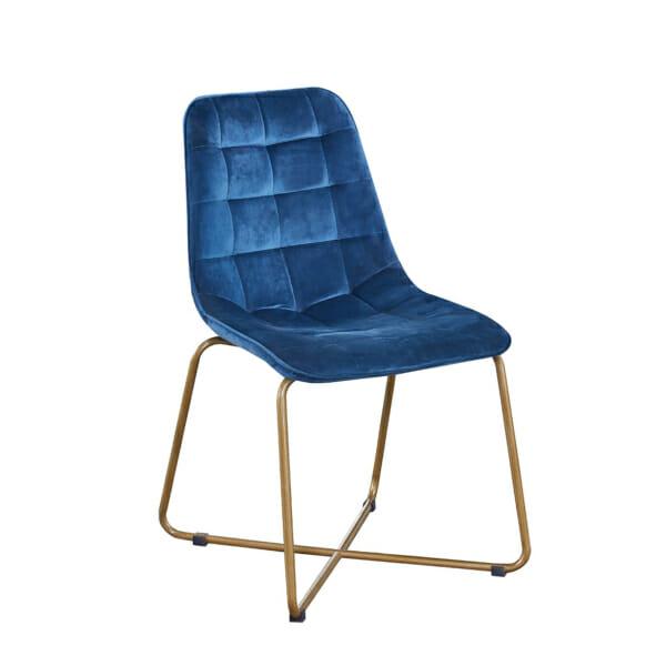 Плюшен трапезен стол в син цвят с метални крака