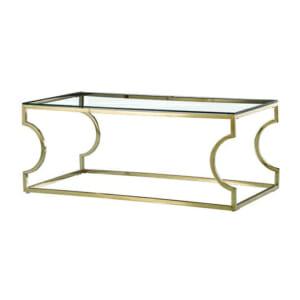 Правоъгълна холна маса със стъклен плот в златисто