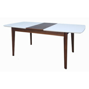 Разтегателна трапезна маса от дърво в бял лак и орех
