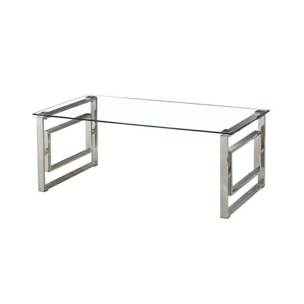 Сребриста холна маса със стъклен плот